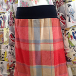 Vintage Wool Blanket Skirt: Red, Blue & Cream