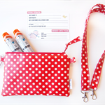 EpiPen / Anapen Case / Pouch with a Shoulder Strap - Red Polka Dot