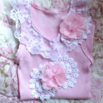 Pink Lace Vintage Doily Embellished Baby singlet.  Shabby Chic.