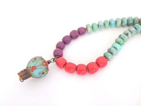 Balloon glass, amazonite and bright colour necklace by Sasha and Max