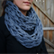 Lovely light chunky Infinity Scarf in Denim Blue