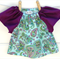New born baby girls paisley, blue and purple peasant dress