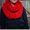 Chunky Red Knitted Infinity Scarf