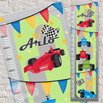 (Grand Prix Racer) Personalised Fabric Height Chart 30x106cm