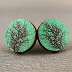 Stud Earrings - Green Tree Round Wooden