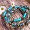 Turquoise Gold Sand Glass & Antique Gold Tibetan Bead Bracelets