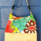 Medium, Canvas, Vintage, Vibrant, Up-cycled Shoulder/Bucket/Tote Bag