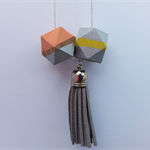 Hand Painted Wooden Geometric Necklace