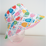 Girls summer hat in bright owls fabric