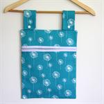 Laundry Fun Peg Bag - White Dandelions on Turquoise.