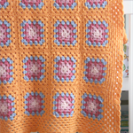 orange crochet blanket with pink and blue, wool, bedding, ready to post