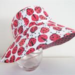 Girls cute summer hat in ladybug fabric