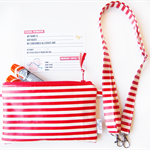 EpiPen / AnaPen Case / Pouch with a Shoulder Strap - Red and White Stripe