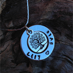 names / own message personalised necklace, antique tree of life pendant