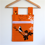 Laundry Fun Peg Bag - Jungle Safari Birds on pumpkin orange