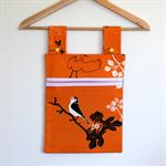 Laundry Fun Peg Bags - Jungle Safari Birds on pumpkin orange