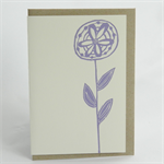 Rustic flower linocut letterpress greeting card