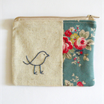 coin purse with little bird in blue floral