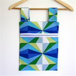 Laundry Fun Peg Bag - Blue Green & White Geometric Triangles