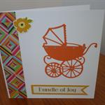 Greeting Card - Baby     Orange Pram