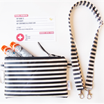 EpiPen / Anapen Case / Pouch with a Shoulder Strap - Black and White Stripe