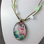 Vintage Wallpaper Pendant on Short Necklace with Crystal Beads