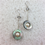 Mother of Pearl Disk and Crystal Earrings