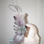 Enchantment SALE grey headwear winter autumn racecup carnival feathers felt