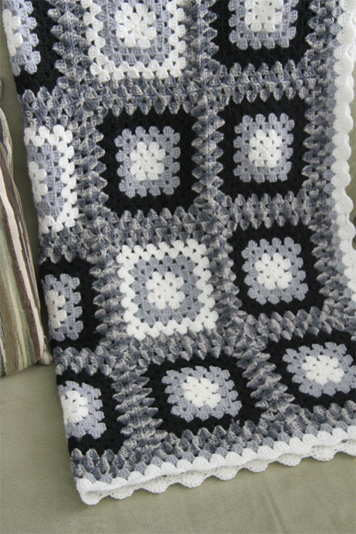 acrylic hand crocheted blanket in classic black white and grey combo Crochet Blanket Black And White