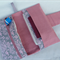 Deluxe Nappy Wallet // pocket with zipper // pink + grey