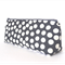 Linen Cotton Make-up Zipper Pouch // Stationery Pencil Case in Blue & White Dots