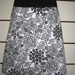 Black & White Flower  Skirt with Bamboo Stretch Waist