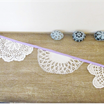 Violet Bunting Vintage Wedding Doily Doilies Purple Mauve Cream White