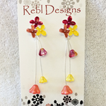 Hand Coloured Flower Studs in Reds, Orange and yellows