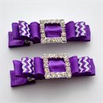 Rhinestone Hair Clips - purple chevron