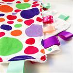 FUNKY POLKADOTS Baby  Security Blanket Blankie Taggie Toy + Free Taggie Saver