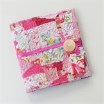 Mini journal, notebook stitched fabric with  button, Pink Deer