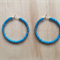 LARGE AQUA (TRANSPARENT) COLOUR BASICS HOOP EARRINGS - FREE SHIPPING WORLDWIDE