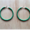 LARGE GREEN COLOUR BASICS HOOP EARRINGS - FREE SHIPPING WORLDWIDE