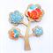 Kimono Tree Brooch - Orange and Blue Floral
