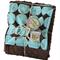 Stroller blanket - Dotty blue with chocolate minky