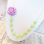 Hollin Necklace Lime Green Purple Mauve Silver Candyland Vintage Beaded