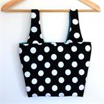 Little Miss Linda Lunch Bag - White Polka Dots on Black