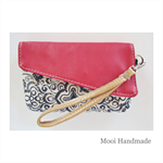Red leather and cotton/linen Mini Clutch