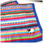 """Royal Blue """"Sheep"""" Blanket - Hand knitted in pure wool"""