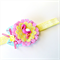 Flamingo Felt Flower Headband - Pink Aqua Yellow