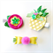 Pineapple Clip Set - Fuchsia  Pink Emerald Green Yellow - Glitter