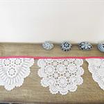 Fuchsia Bunting Vintage Wedding Doily Doilies Pink Cream White