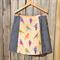 Birds & denim A line panel skirt