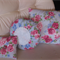 Blue and Fuchsia Floral Fabric Doily Cushion - Round